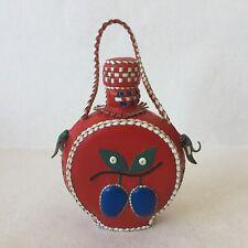 Vintage 1970 Ex Yugoslavia Red Leather Covered Bottle Decanter Ethno Motif