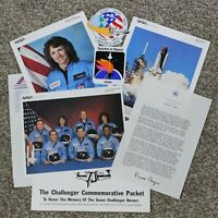 NASA Space Shuttle Challenger Commemorative Packet Pictures Stickers McAuliffe
