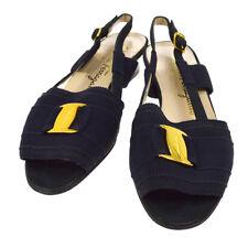 100% Auth Salvatore Ferragamo Vara Bow Shoes Sandals Canvas Italy 4 1/2 Y02113b