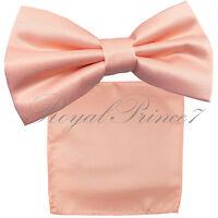 New PEACH Men's pre tied Bow tie & Pocket Square Hankie set wedding Prom
