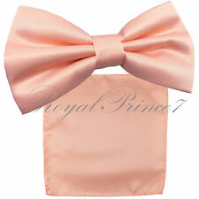 New PEACH Men's pre tied Bow tie & Pocket Square Hankie set wedding Prom