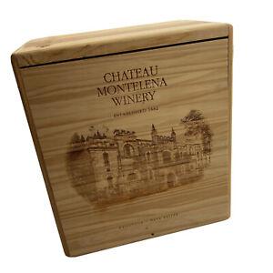 Chateau Montelana Winery 3-Bottle Wood Wine Box Calistoga Napa Valley Decor