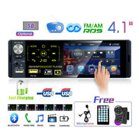 "4.1"" Single 1 DIN Car Radio Stereo Touch Screen RDS AM FM Bluetooth AUX USB TF"