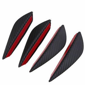 4x Carbon Fiber Look Car Front Bumper Fins Lip Canards Splitter Trim Univeral