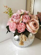 Artificial Silk Rose and Peony Flower Arrangement In Glass Vase