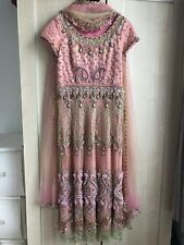 Pink beaded, sequinned, embellished & embroidered Anarkali dress, 6, 8, 10