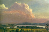 Oil painting frederic edwin church art landscape sunset across the hudson valley