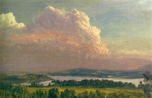 Oil painting frederic edwin church art landscape sunset across the hudson valley