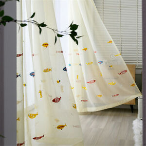 Colorful Fish Embroidered Sheer Tulle Voile Curtain for Kids Bedroom 1 Panel