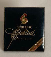 Sobranie Cocktail Cigarettes Vintage Enamel Lapel Pin Black with Gold Lettering