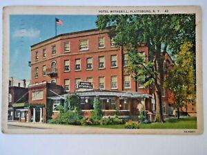 1937 Plattsburg NY RPPC Hotel Witherill  Posted Ticonderoga