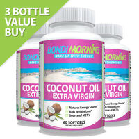 Pure Natural Organic Virgin Coconut Oil Softgels Capsules, Hair Growth Skin Face