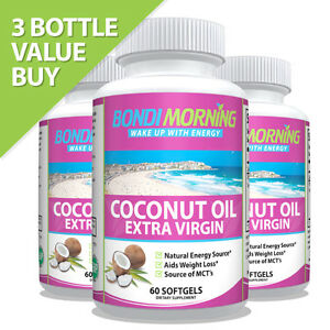 Pure Natural Organic Virgin Coconut Oil Softgels Capsules, Hair Growth Skin Face