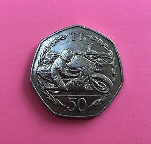 Isle Of Man TT 1983, Large 50p Coin.  Ron Haslam - Circulated Condition
