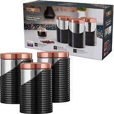 Torre T826001RB Set da cucina contenitore LINEARE NERO & Rose Gold Sugar TEA & C...