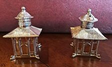 Sterling Silver Pagoda Salt and Pepper Shakers Thistle and Bee   JB0497