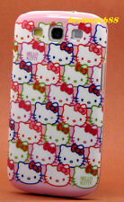 FOR SAMSUNG GALAXY S3 cute kitten CASE WHITE PINK W/ FACES