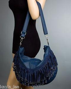 Silver-Tone O-Ring Edged Fringe Boho Tote/Hobo Purse/Handbag *4 Colors* Choose
