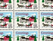 1988 - CHRISTMAS HORSE & SLEIGH - #2400 Full Mint Sheet of 50 Postage Stamps