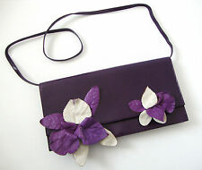 Authentic MIU MIU VIOLA POCHETTE IBISCU FLOWER Leather Clutch Shoulder Bag