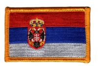 Toppe Toppa PATCH SERBIA 7x4,5cm Bandiera banderina ricamata termoadesivo