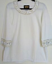 Bob Mackie Beaded Sweater Top Women's Size L White Sim Pearls Crystal Pullover