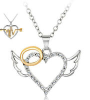Silver Plated Angel Wing Heart Arrow Necklace Chain Choker Jewelry Party Gift