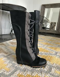 SOREL CATE THE GREAT WEDGE 8 Tall BLACK Women Boots Waterproof  EXCELLENT RARE