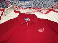 Rare Vintage Detroit Red Wings polo golf shirt Starter medium M c10