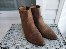 Joe Sanchez Pointed Toe Ankle Boots Womens sz 41 9.5 - 10  Brown Leather Cowgirl