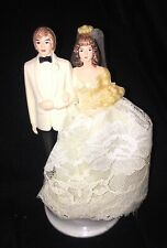 Vintage Wedding Cake Topper Circa 1960s 1970s Light Brown-Haired Bride & Groom