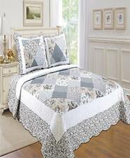 United Curtain Co Inc Emily 100% Cotton Reversible 3 Pc Twin Quilt Set Platinum