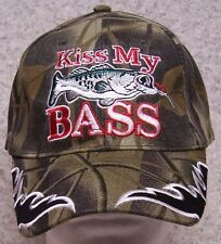 Embroidered Baseball Cap Fishing Kiss My Bass NEW all cammie 1 size fits all