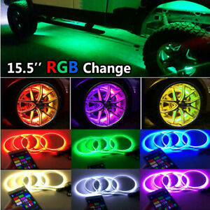 "4x 15.5"" LED Wheel Ring Rim Lights RGB Color Changing Turn Signal IP68 Bluetooth"