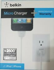 Apple MFi Certified Belkin Micro Charger + Cable 30 pin iPod iPhone 1A 4ft - NEW