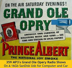 359 Grand Ole Opry 1939-1960 Country/Western Old Time Radio Shows MP3 16 Gb USB