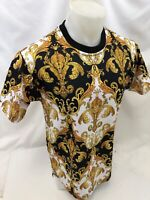 MENS VICTORIOUS SHORT SLEEVE SHIRT Urban BLACK FLUER DE LIS GOLD DESIGN 7268