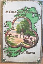 Irish Postcard CHARMING SOUVENIR OF THE LAND OF OUR BIRTH Ireland Map Park 1911