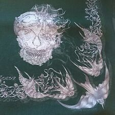 NWT AUTHENTIC ALEXANDER MСQUEEN SKULL SWALLOW PRINT GREEN SILK CHIFFON SCARF