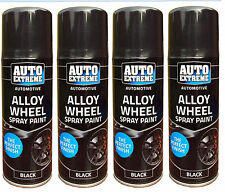 4 x Alloy Wheel Spray Can Restorer Car Bike Auto Spray Paint Black Satin 200ml