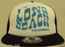 RETRO LONG BEACH CALI CA CALIFORNIA REPUBLIC BEAR TRUCKER MESH SNAPBACK CAP HAT