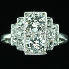 Antique Art Deco 2-stone Big White Diamond Round Vintage Engagement Wedding Ring