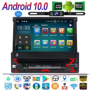"""7"""" 1 Din Android 10 Car Radio Head Unit Bluetooth Stereo Flip Out Touch Screen"""