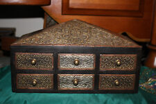 India Middle Eastern 6 Drawer Trinket Jewelry Storage Box-Wood-Metal Accents