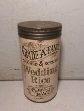 Vintage Grade A fancy WEDDING RICE unopened Tin, Great graphics & colors, Minn
