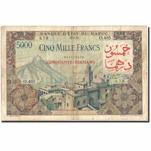 [#216157] Banknote, Morocco, 50 Dirhams on 5000 Francs, 1953, 1953-07-23, KM:51