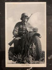 1941 Germany Feldpost Soldier Motorcycle WWII RPPC Postcard Cover