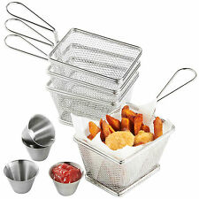 VonShef Stainless Steel Fry Basket & Dipping Bowl Set - Food Dish Snack Serving