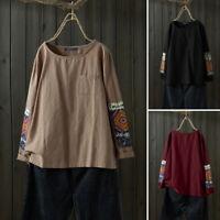 ZANZEA Femme Coton Ample Manche Longue Couture à imprimée Haut Shirt Tops Plus