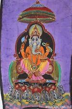 Ganesha Ganpati Wall Hanging Handmade Batik Painting Tapestry Indian Yoga Decor